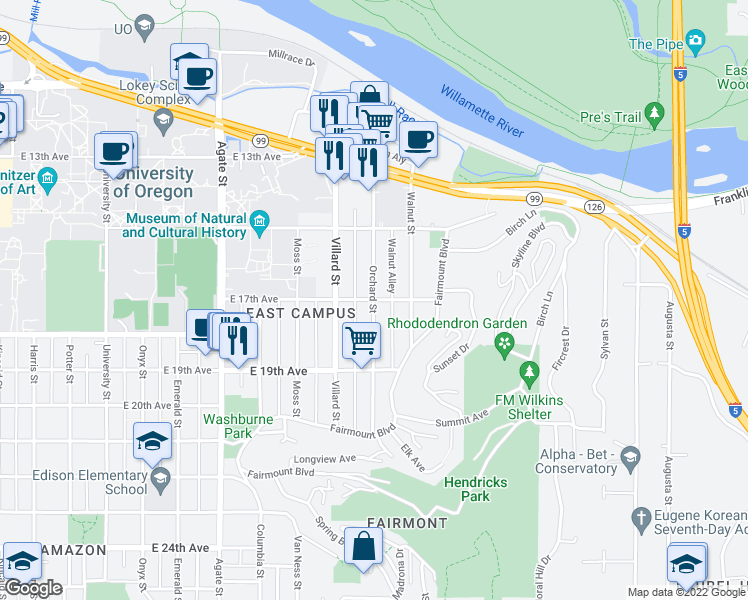 map of restaurants, bars, coffee shops, grocery stores, and more near Orchard Street in Eugene