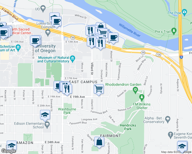 map of restaurants, bars, coffee shops, grocery stores, and more near 1939 East 17th Avenue in Eugene