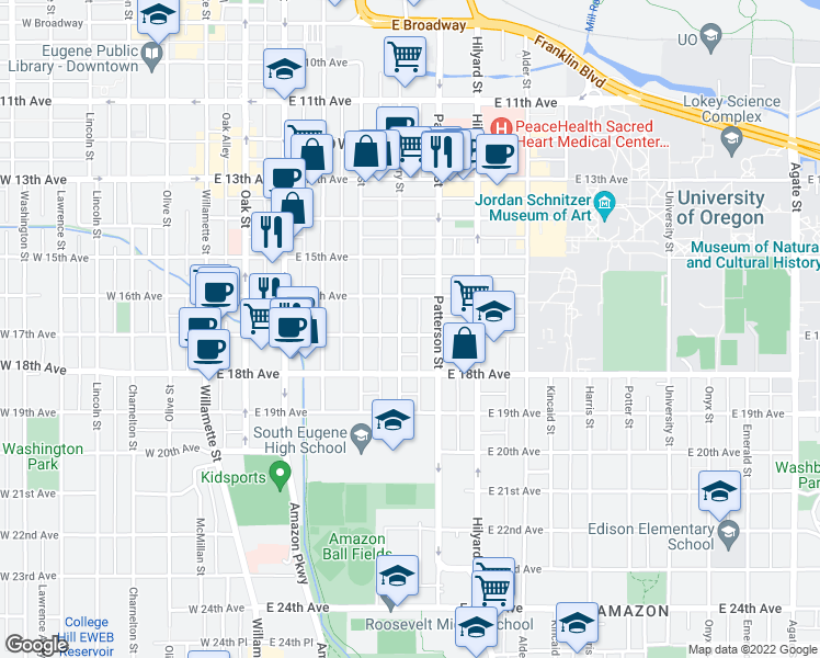 map of restaurants, bars, coffee shops, grocery stores, and more near 545 East 17th Avenue in Eugene