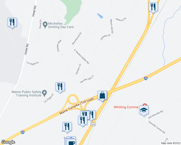 map of restaurants, bars, coffee shops, grocery stores, and more near 7 Harvest Hill Lane in Auburn