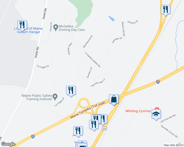 map of restaurants, bars, coffee shops, grocery stores, and more near 56 Garden Circle in Auburn