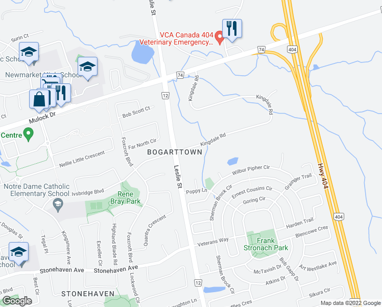 map of restaurants, bars, coffee shops, grocery stores, and more near 1201 Kingdale Road in Newmarket