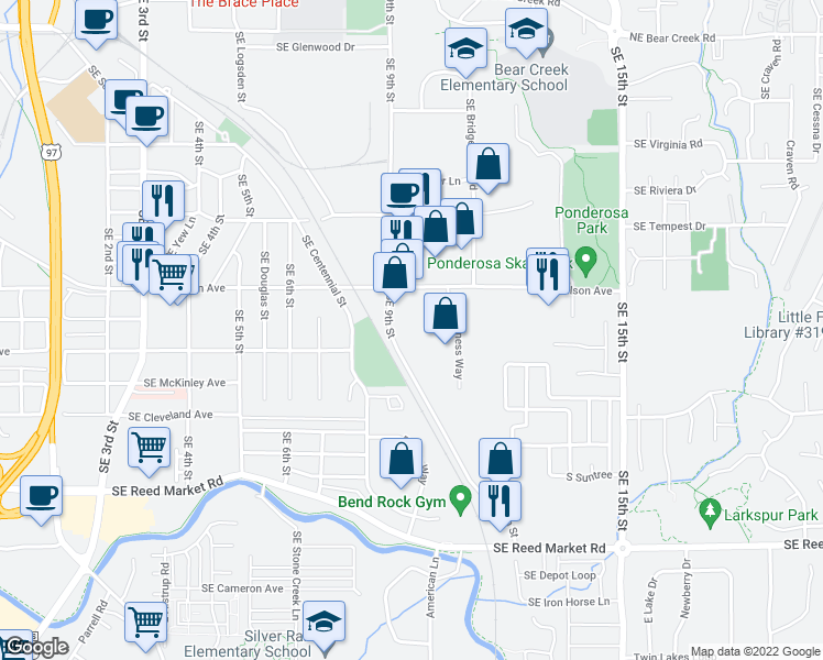 map of restaurants, bars, coffee shops, grocery stores, and more near 720 Southeast 9th Street in Bend