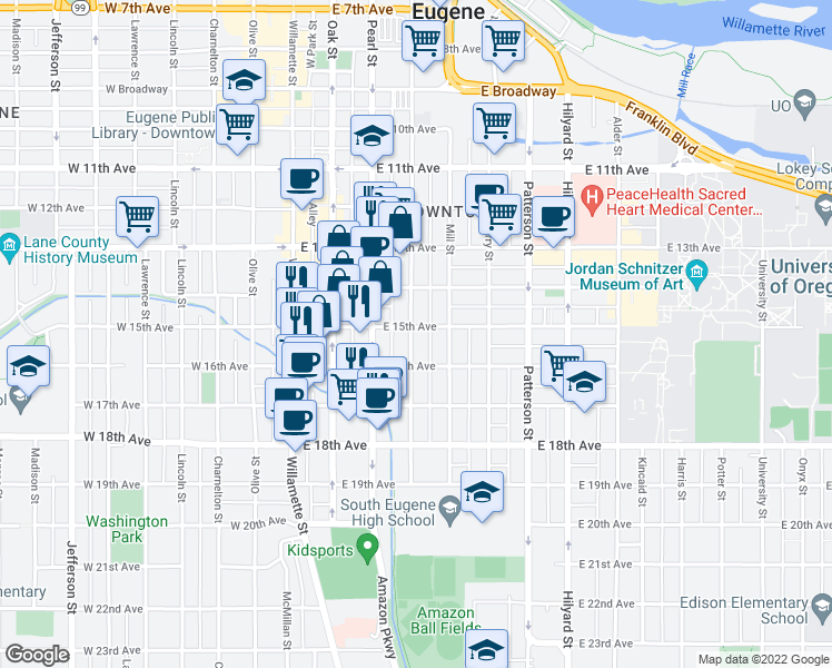 map of restaurants, bars, coffee shops, grocery stores, and more near 314 East 15th Avenue in Eugene