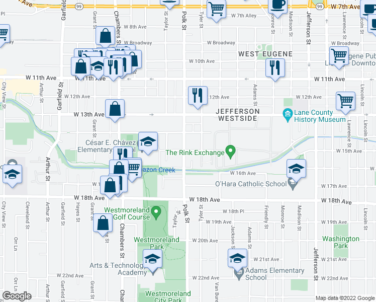 map of restaurants, bars, coffee shops, grocery stores, and more near 1515 Polk Street in Eugene