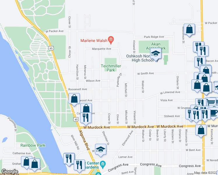 map of restaurants, bars, coffee shops, grocery stores, and more near 1602 Roosevelt Avenue in Oshkosh