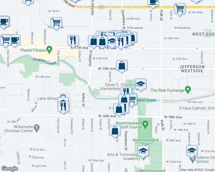 map of restaurants, bars, coffee shops, grocery stores, and more near 1527 Grant Street in Eugene