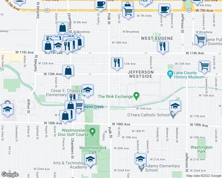 map of restaurants, bars, coffee shops, grocery stores, and more near 1435 Polk Street in Eugene