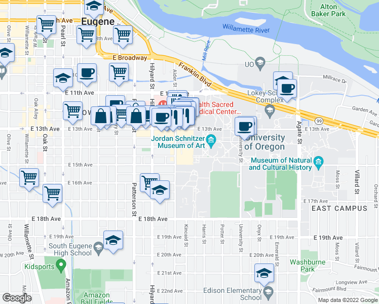 map of restaurants, bars, coffee shops, grocery stores, and more near 839-879 East 14th Avenue in Eugene