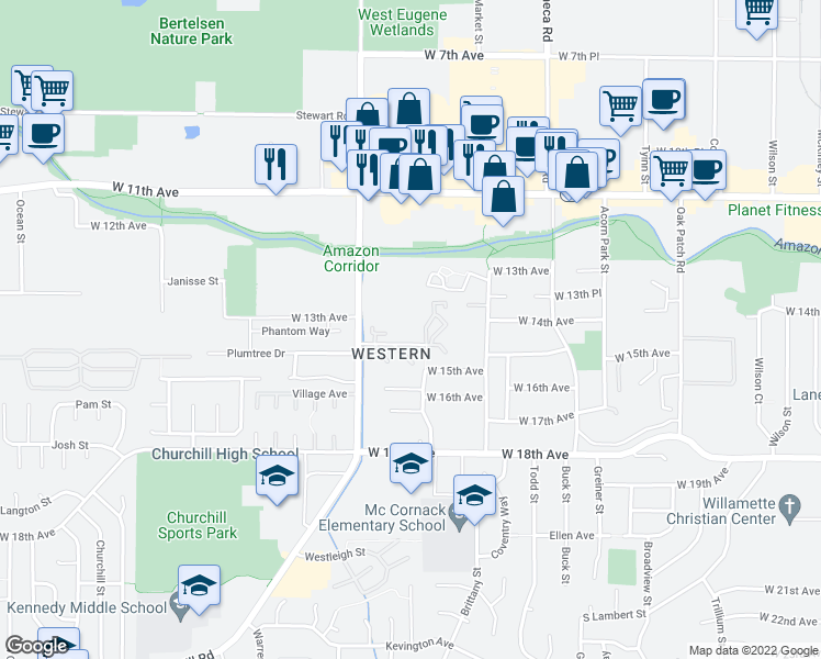 map of restaurants, bars, coffee shops, grocery stores, and more near 1455/1475 Bailey Hill Road in Eugene
