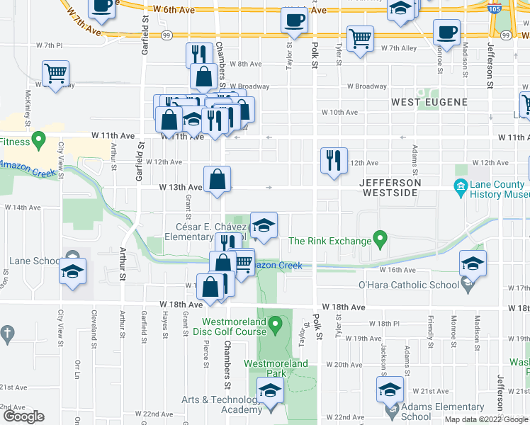 map of restaurants, bars, coffee shops, grocery stores, and more near 1449 West 14th Avenue in Eugene