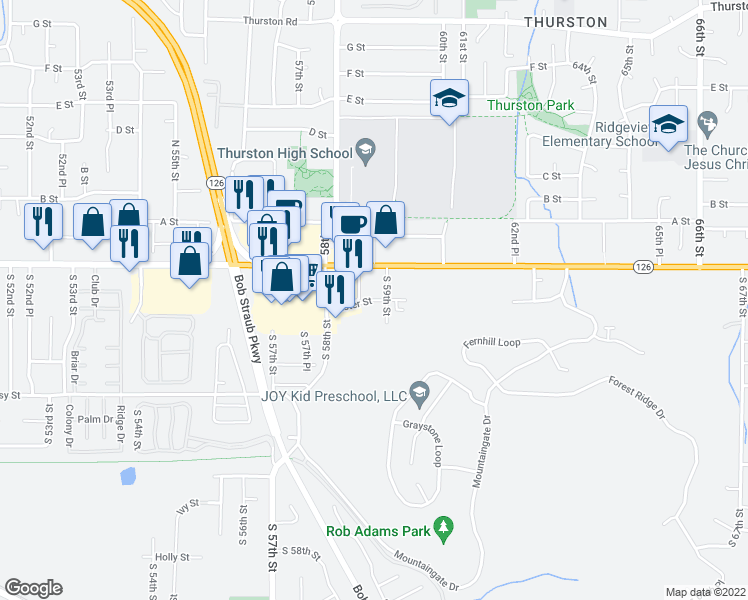 map of restaurants, bars, coffee shops, grocery stores, and more near Aster Street in Springfield