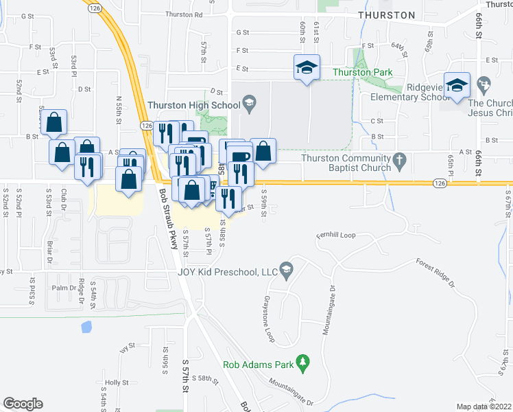 map of restaurants, bars, coffee shops, grocery stores, and more near 5815 Aster Street in Springfield