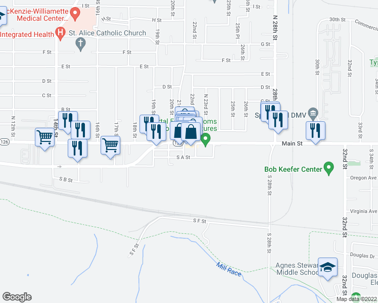 map of restaurants, bars, coffee shops, grocery stores, and more near 2104 Main Street in Springfield