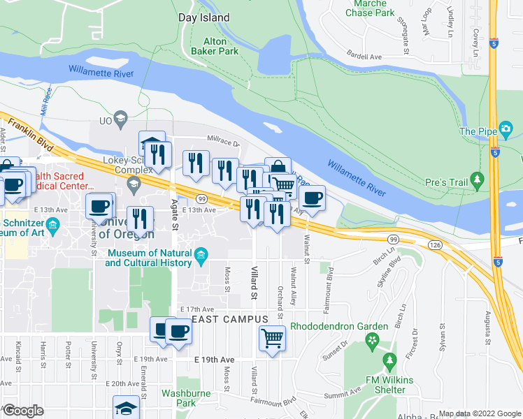 map of restaurants, bars, coffee shops, grocery stores, and more near Franklin Blvd & Villard St in Eugene