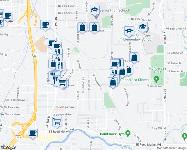 map of restaurants, bars, coffee shops, grocery stores, and more near 646 Southeast Centennial Street in Bend