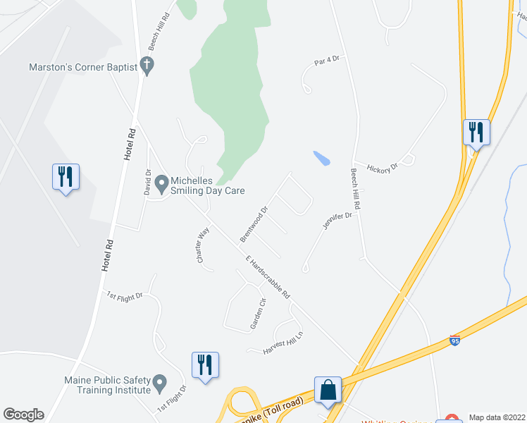 map of restaurants, bars, coffee shops, grocery stores, and more near Brentwood Drive in Auburn