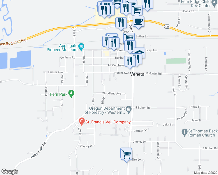map of restaurants, bars, coffee shops, grocery stores, and more near 24952 Oregon Circle in Veneta
