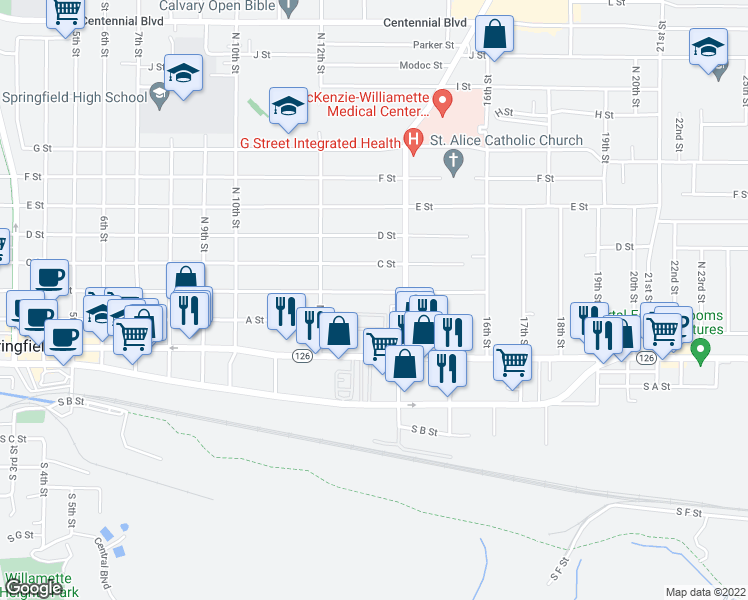 map of restaurants, bars, coffee shops, grocery stores, and more near 1355 B Street in Springfield