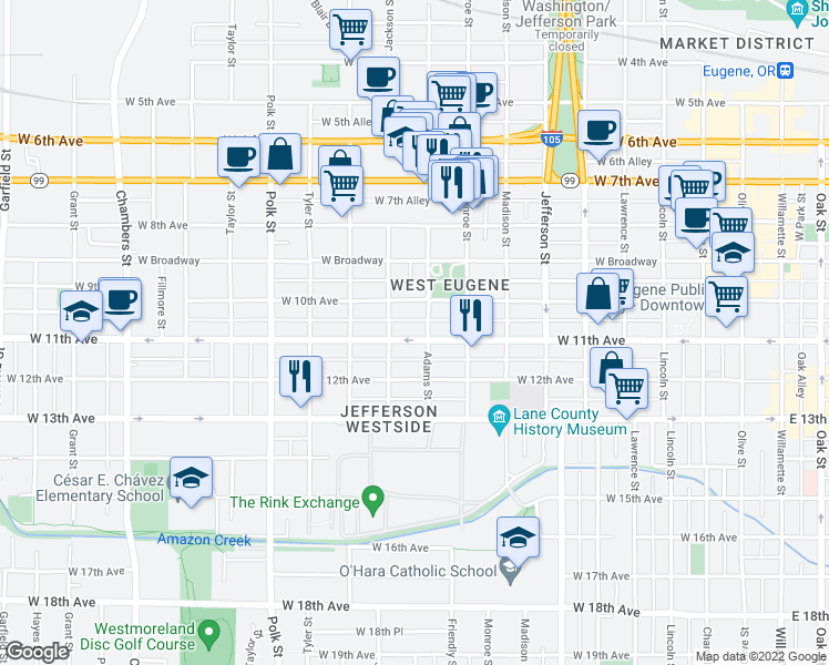map of restaurants, bars, coffee shops, grocery stores, and more near 931 West 11th Avenue in Eugene