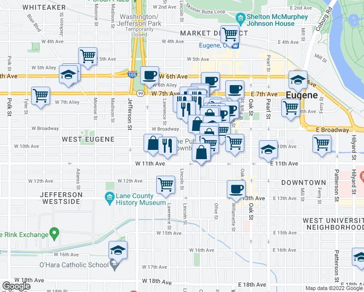 map of restaurants, bars, coffee shops, grocery stores, and more near Lincoln St & W 10th Ave in Eugene