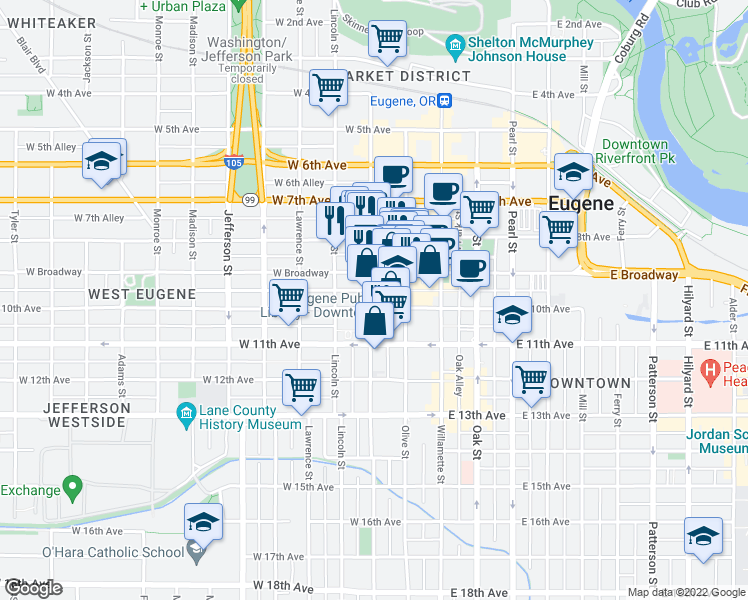 map of restaurants, bars, coffee shops, grocery stores, and more near 975 Charnelton Street in Eugene