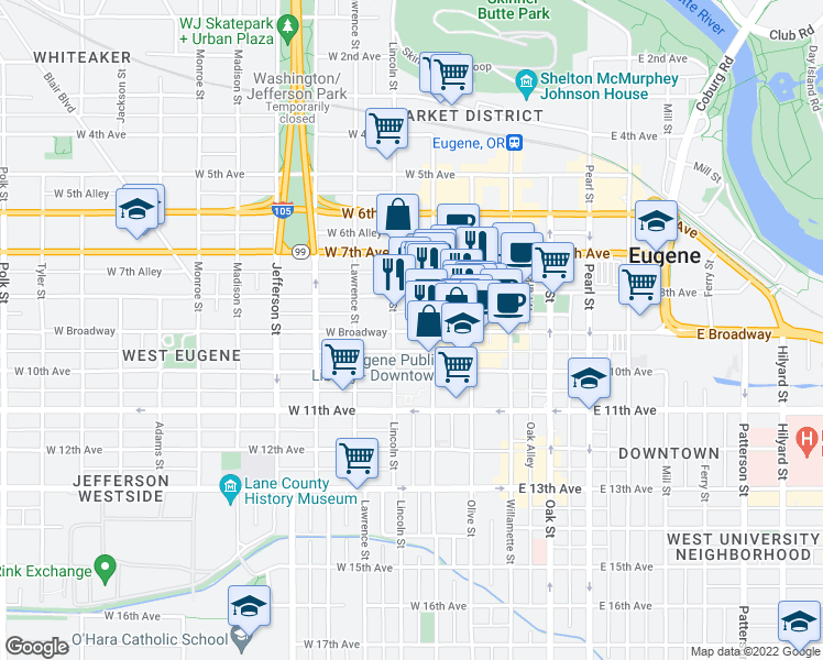 map of restaurants, bars, coffee shops, grocery stores, and more near 250-260 West Broadway in Eugene