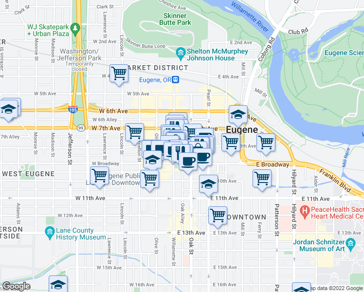 map of restaurants, bars, coffee shops, grocery stores, and more near E 8th Ave & W Park St in Eugene