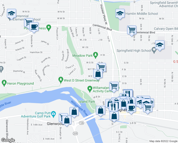 map of restaurants, bars, coffee shops, grocery stores, and more near 143 West E Street in Springfield