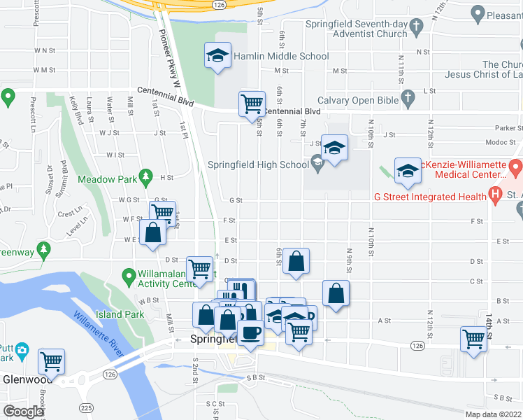 map of restaurants, bars, coffee shops, grocery stores, and more near 736 North 5th Street in Springfield