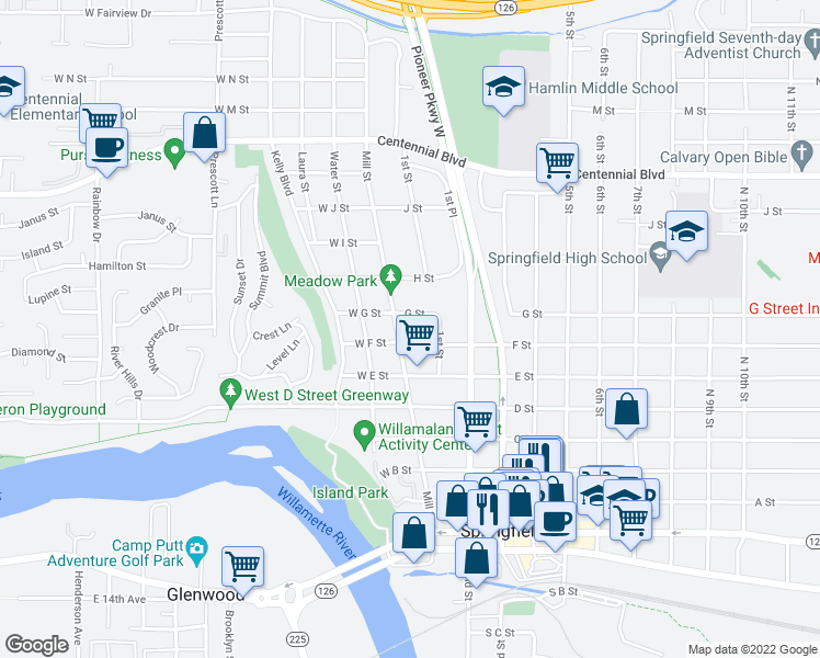 map of restaurants, bars, coffee shops, grocery stores, and more near 733 Mill Street in Springfield