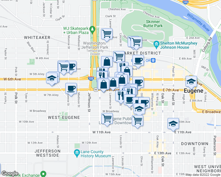 map of restaurants, bars, coffee shops, grocery stores, and more near 700 Lawrence Street in Eugene