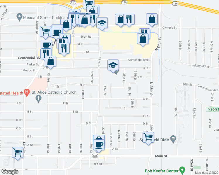 map of restaurants, bars, coffee shops, grocery stores, and more near 884 23rd Street in Springfield