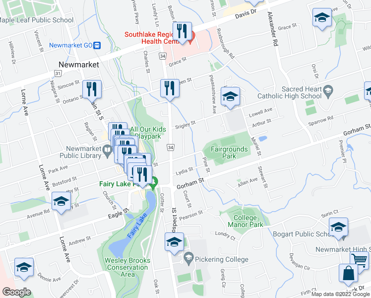 map of restaurants, bars, coffee shops, grocery stores, and more near 197 Charlotte Street South in Newmarket