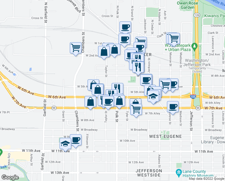 map of restaurants, bars, coffee shops, grocery stores, and more near 540 Polk Street in Eugene