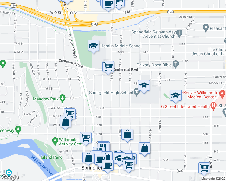 map of restaurants, bars, coffee shops, grocery stores, and more near 922 North 5th Street in Springfield