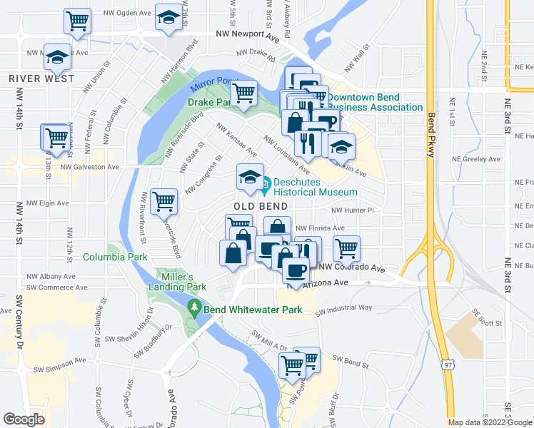 map of restaurants, bars, coffee shops, grocery stores, and more near 717 Northwest Georgia Avenue in Bend