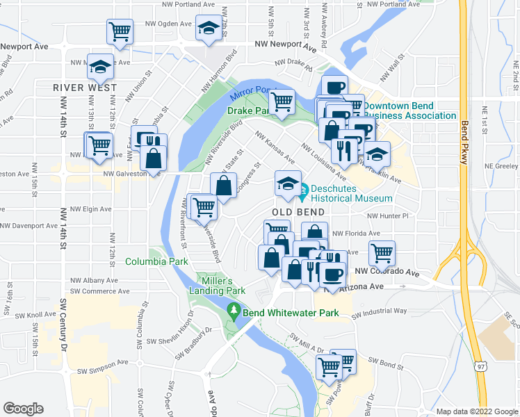 map of restaurants, bars, coffee shops, grocery stores, and more near 214 Northwest Saint Helens Place in Bend