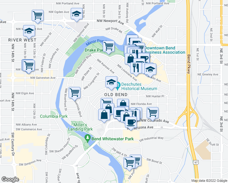 map of restaurants, bars, coffee shops, grocery stores, and more near 720 Northwest Georgia Avenue in Bend