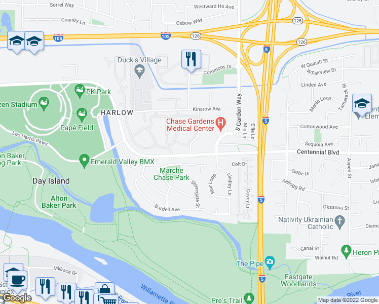 map of restaurants, bars, coffee shops, grocery stores, and more near 201-373 Marche Chase Drive in Eugene