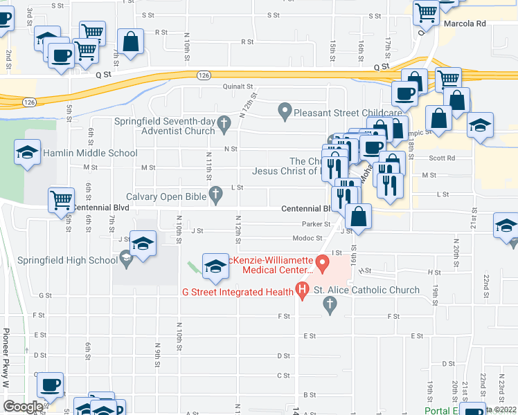 map of restaurants, bars, coffee shops, grocery stores, and more near 1268 Centennial Boulevard in Springfield