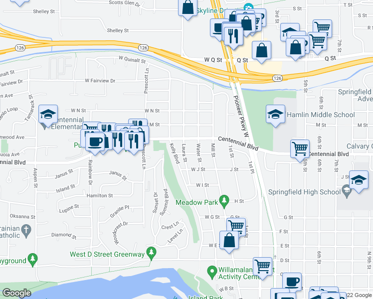 map of restaurants, bars, coffee shops, grocery stores, and more near 310 West K Street in Springfield