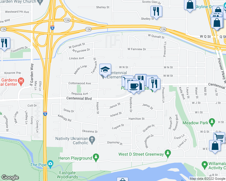map of restaurants, bars, coffee shops, grocery stores, and more near 1123 Sequoia Avenue in Springfield