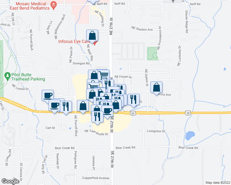map of restaurants, bars, coffee shops, grocery stores, and more near 611 Northeast Bellevue Drive in Bend
