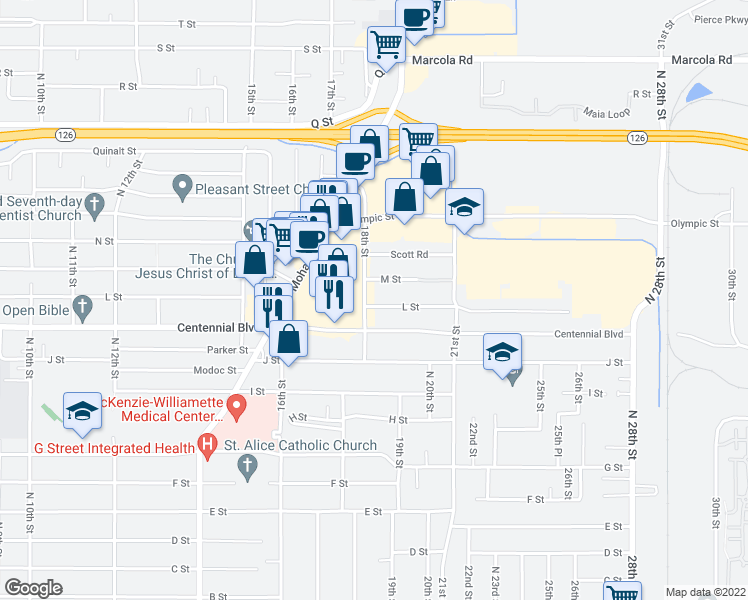 map of restaurants, bars, coffee shops, grocery stores, and more near 1250 18th Street in Springfield