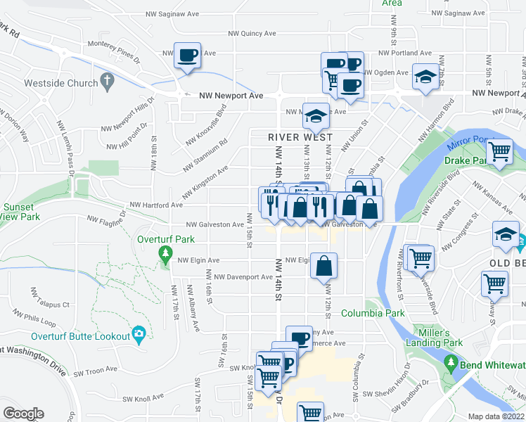 map of restaurants, bars, coffee shops, grocery stores, and more near 1441 Northwest Hartford Avenue in Bend