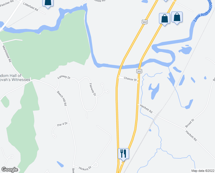 map of restaurants, bars, coffee shops, grocery stores, and more near 35 Little Androscoggin Drive in Auburn