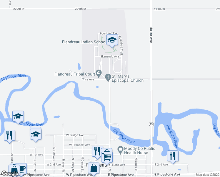 map of restaurants, bars, coffee shops, grocery stores, and more near Old Highway 13 in Flandreau