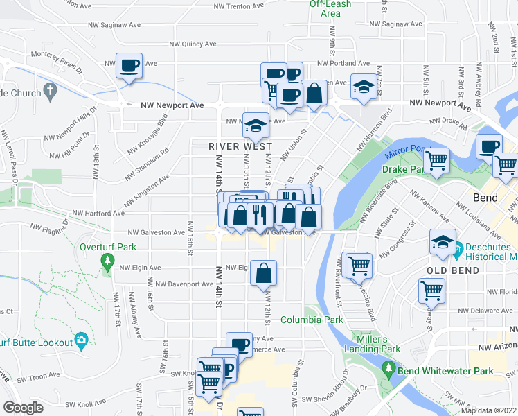 map of restaurants, bars, coffee shops, grocery stores, and more near 1230 Northwest Hartford Avenue in Bend