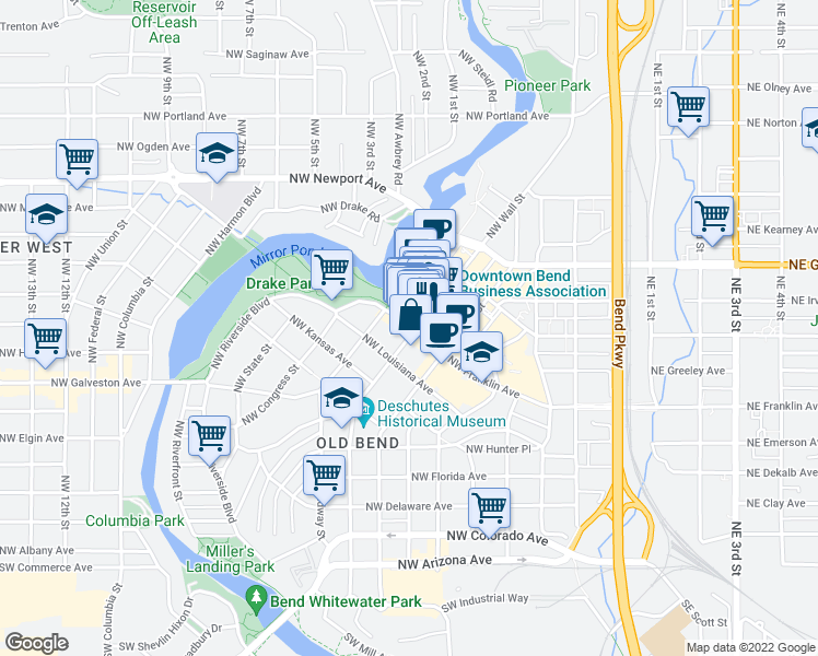 map of restaurants, bars, coffee shops, grocery stores, and more near in Bend